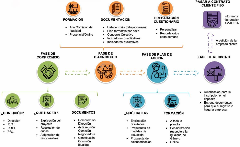 Infografía con todas las fases del plan de igualdad de empresas