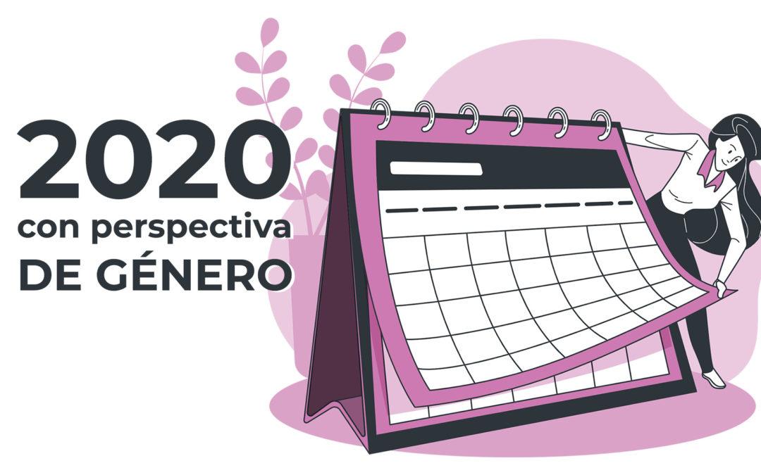 Ilustración de una mujer pasando un calendario con el título 2020 con perspectiva de género.