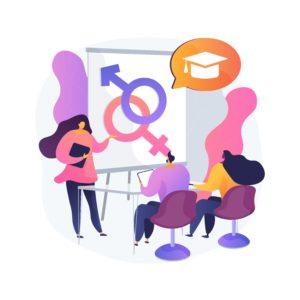 Ilustración de una mujer hablando acerca de la discriminación por orientación sexual e identidad de género